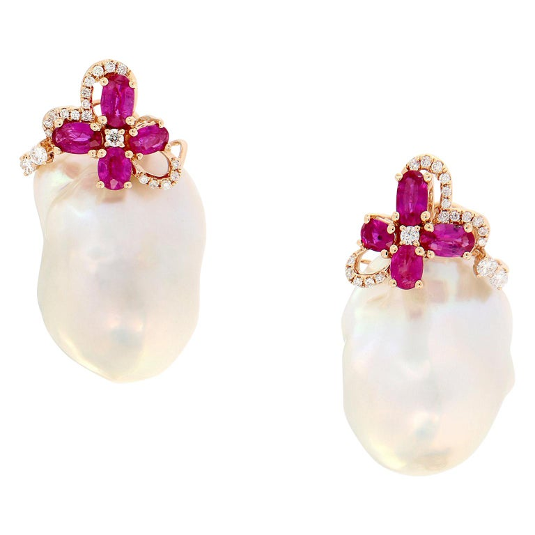 Baroque Pearl Diamond Ruby Earrings
