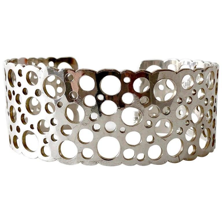 Liisa Vitali Sterling Silver Finnish Modernist Pitsi Ladybird Cuff Bracelet For Sale