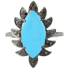 Meghna Jewels Claw Marquise Turquoise and Black Diamonds Cocktail Ring