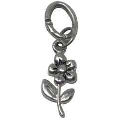 Vintage Sterling Silver Puffy Flower Charm or Pendant
