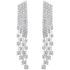 9.01 Carat Round Diamond Fringe Dangle Earrings