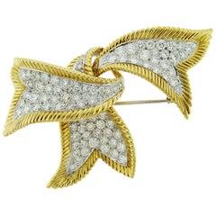 David Webb 18 Karat Yellow Gold and Platinum Diamond Ribbon Brooch