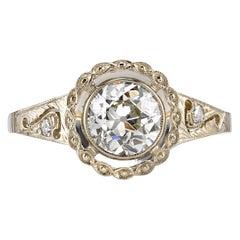 1.01 Carat Old European Cut Diamond Engagement Ring