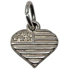 Vintage Sterling Silver Flag Heart