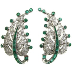 Art Deco Emerald Diamond Platinum Leaf Earrings