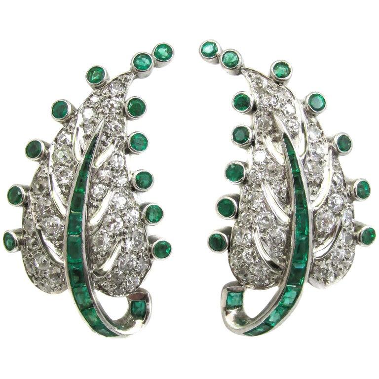 Art Deco Emerald Diamond Platinum Leaf Earrings For Sale