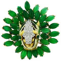 David Webb 18 Karat Gold and Platinum Onyx Emerald and Diamond Tiger Brooch