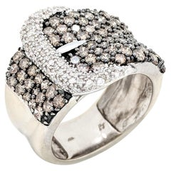 10 Karat White Gold 1.45 Carat White and Champagne Pave Diamond Buckle Ring