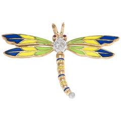 Dragonfly Pendant Vintage Diamond Enamel Ruby 14 Karat Gold Estate Jewelry