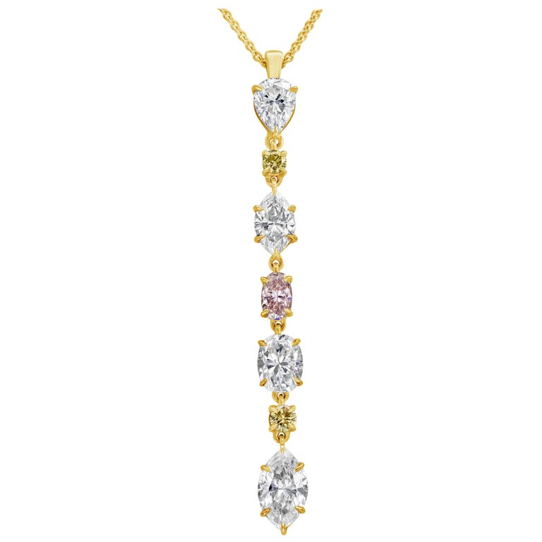 Fancy Color Diamond Drop Pendant Necklace