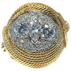 Retro Diamond Gold 1950s Cocktail Ring