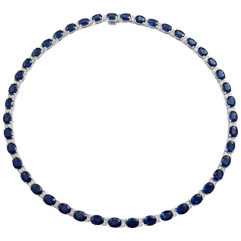 Oval Cut Blue Sapphire and Diamond Tennis Necklace