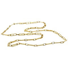 Hammered Custom Bark Link Necklace 14 Karat Yellow Gold