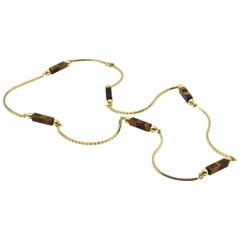 Cobra Style 14 Karat Yellow Gold Necklace with Tigers Eye Stations