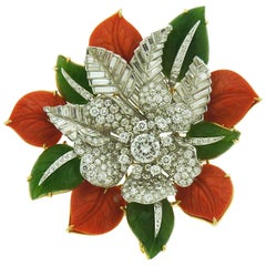 David Webb 18 Karat Gold and Platinum Diamond Coral and Jade Flower Brooch