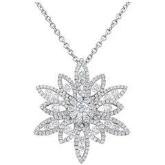 1.58 Carat Total Diamond Cluster Flower Pendant Necklace