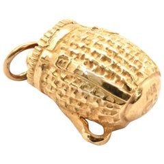 14 Karat Yellow Gold Woven Basket Charm 4.7 Grams