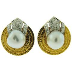 David Webb 18 Karat Yellow Gold and Platinum Pearl Diamond Earrings