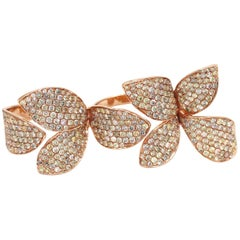 Gem Gallery Two-Finger Micro Pave Diamond Flower Cocktail Ring