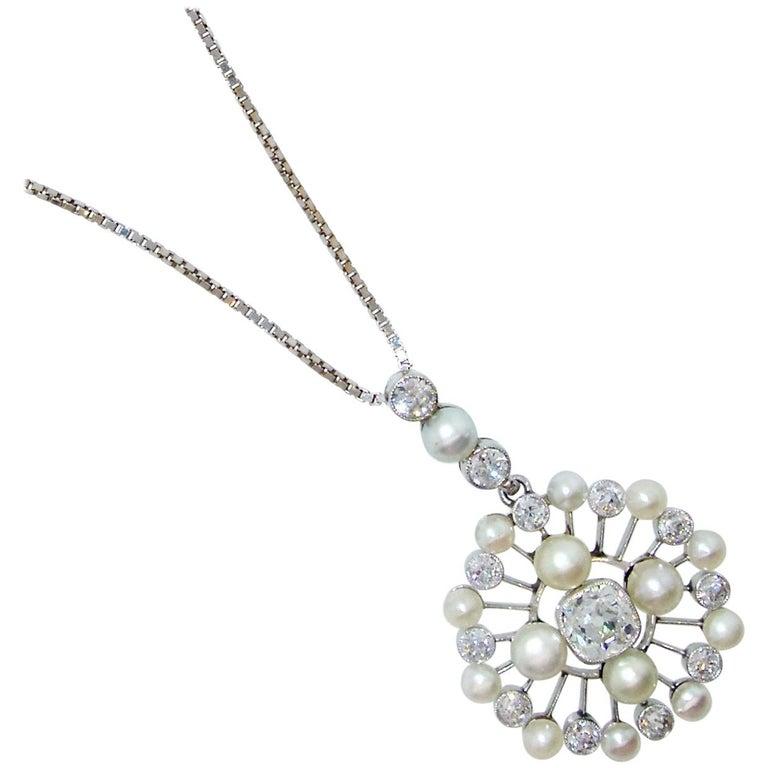 Antique Natural Pearl and Diamond Pendant Necklace, circa 1910
