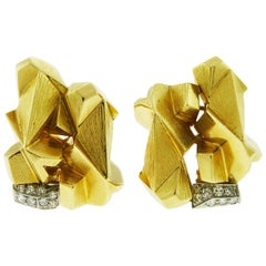 David Webb 18 Karat Yellow Gold and Platinum Diamond Nugget Earrings