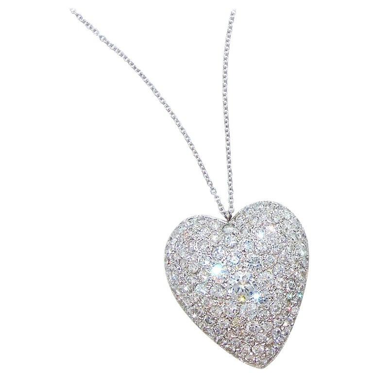 Platinum and Diamond Heart motif Necklace, circa 1930.