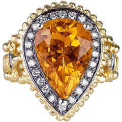 Georgios Collections 18 Karat Yellow Gold Ring with Citrine and Granulation
