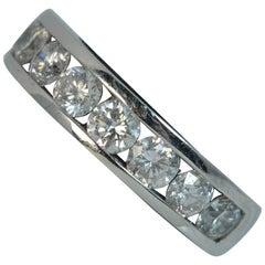 Platinum and VS 1.00 Carat Diamond Ladies Half Eternity Stack Band Ring