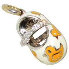 Aaron Basha Yellow Enamel and Diamond Baby Shoe Pendant