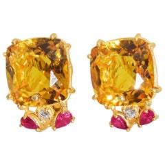 Retro Citrine, Ruby and Diamond Earrings, mid 20th century.