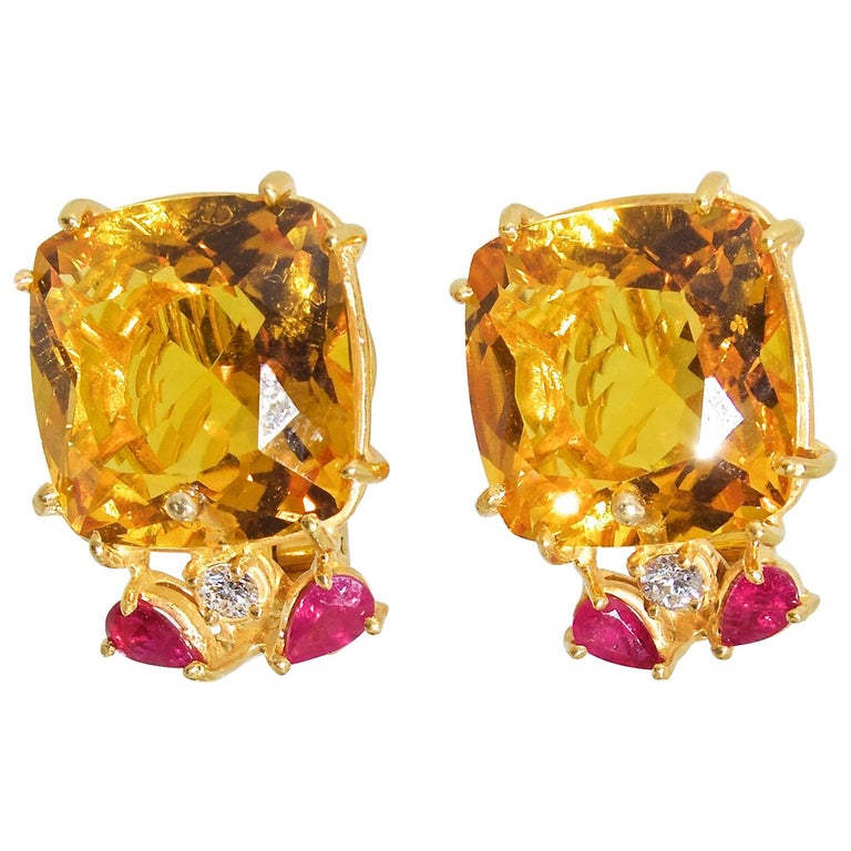 Retro Citrine, Ruby and Diamond Earrings, mid 20th century. For Sale