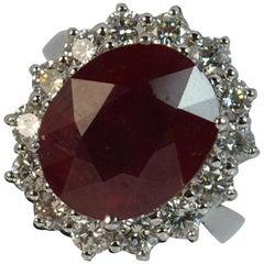 18 Carat White Gold 8.4 Carat Ruby and 1.50 Carat Diamond Cluster Ring