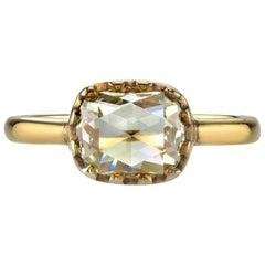 Unique Cushion Rose Cut Diamond Engagement Ring