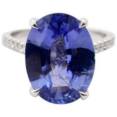 GIA Certified 6.11 Carat Sapphire Diamond Ring