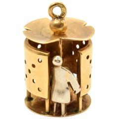 18 Karat Yellow and White Gold Rare European Lavatory Charm 4.65 Grams