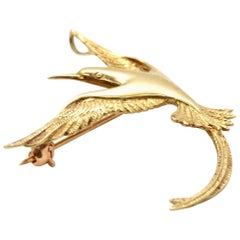 14 Karat Yellow Gold Bird Pin Brooch 3.5 Grams