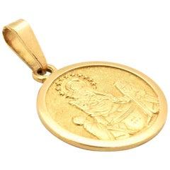 18 Karat Yellow Gold Holy Family Medal Pendant