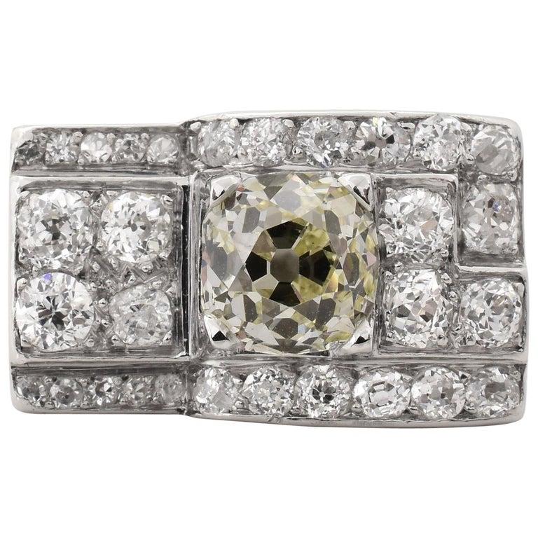 Art Deco Era Diamond Platinum Cocktail Ring