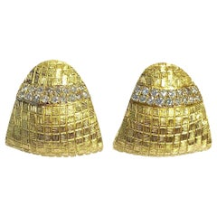 Diamond and Satin Finished Large Gold Earrings