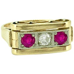 Retro Three-Stone .12 Carat Diamond  Ring .33 Carat Ruby