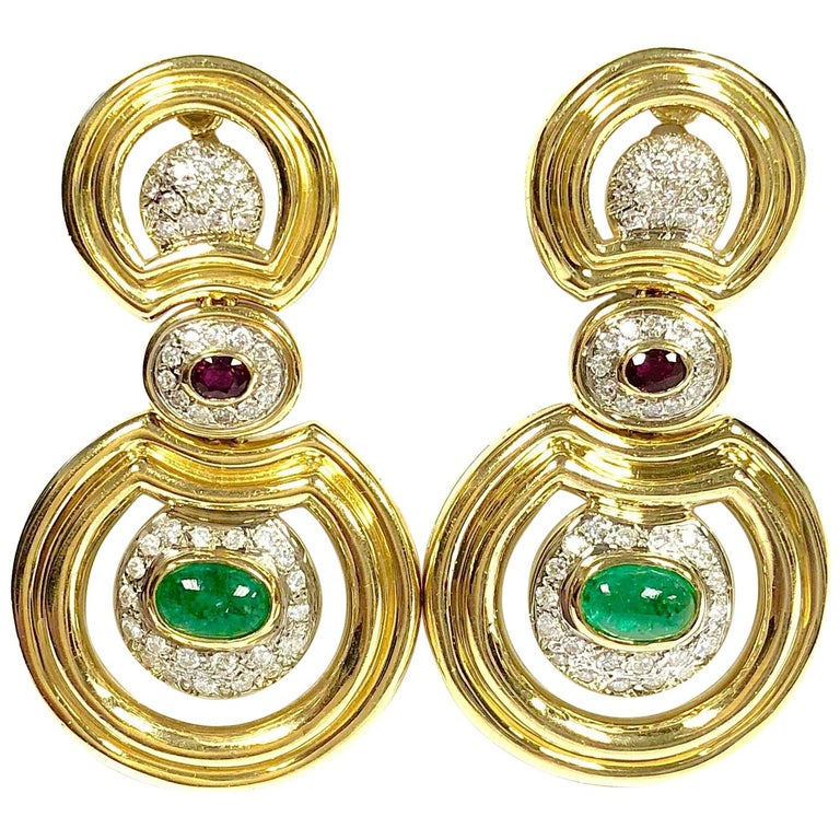 Emerald Ruby and Diamond Gold Large Dangle Earrings