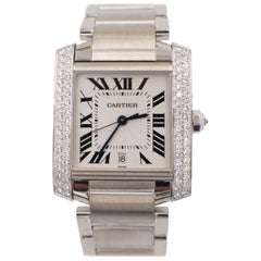 Cartier Tank Francaise 2366 Large Original Diamond Bezel 18 Karat White Gold