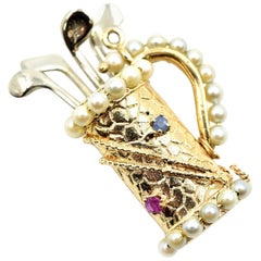 Golf Bag Two-Tone Pendant Set with Pearls, Rubies and Sapphires