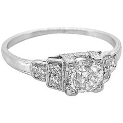 Art Deco Diamond Antique Engagement Ring .47 Carat Platinum Whitehouse Brothers