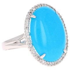 10.28 Carat Turquoise Diamond White Gold Cocktail Ring