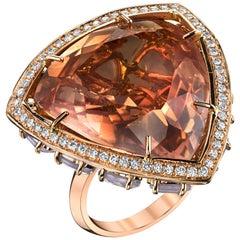 18 Karat Rose Gold Opal Diamond Rose Quartz Horizon Ring
