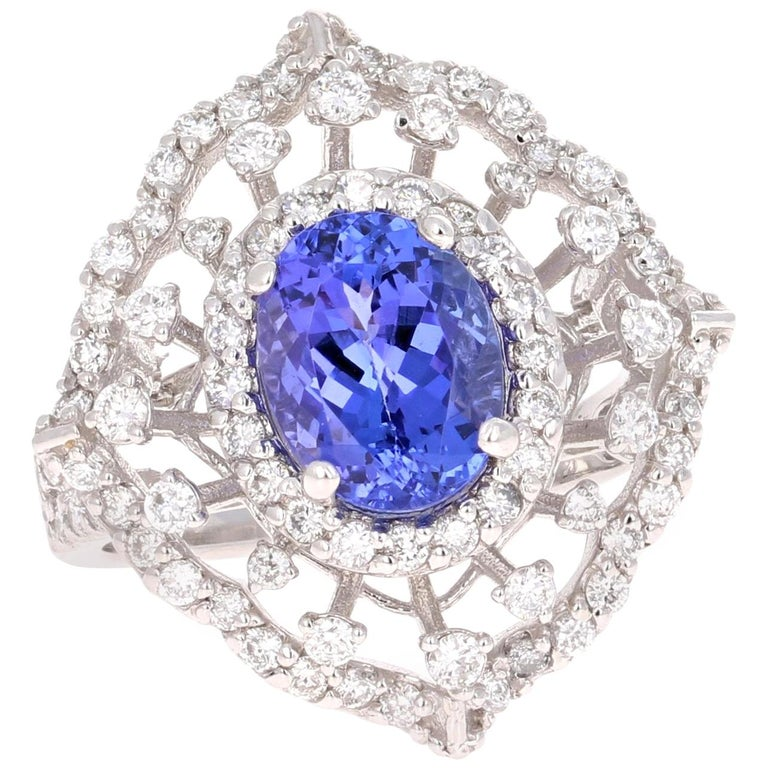 3.83 Carat Tanzanite Diamond White Gold Cocktail Ring
