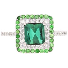 2.48 Carat Green Tourmaline Tsavorite and Diamond 18 Karat Gold Engagement Ring