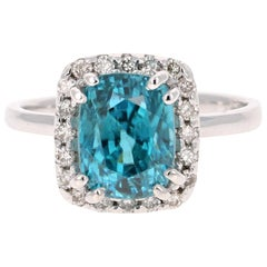 6.46 Carat Blue Zircon Diamond White Gold Ring