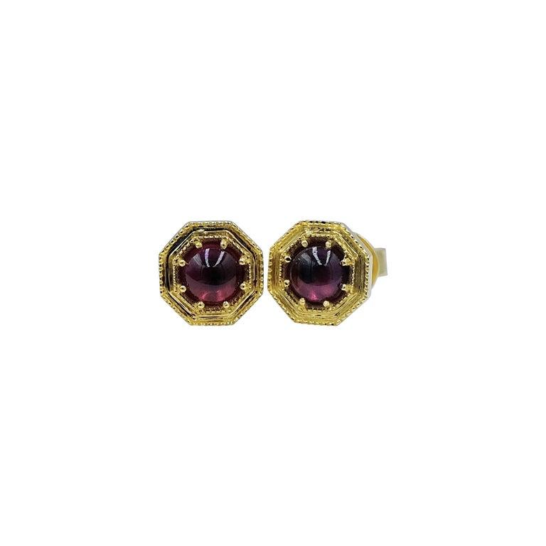 Luca Jouel Rhodolite Garnet CabochonDeco Style Stud Earrings in 18 Carat Gold For Sale